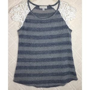 Carolyn Taylor Blue Striped Top With Lace Arms